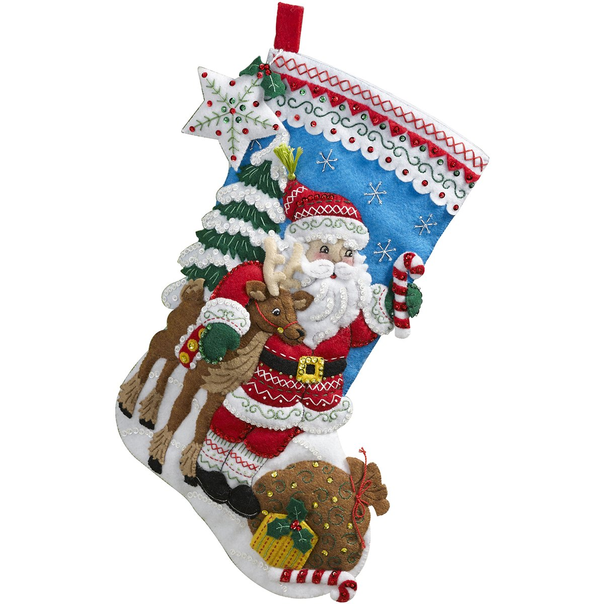 Amazon.com: Bucilla 18-Inch Christmas Stocking Felt Applique Kit ...