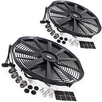 """2 x 16"""" Fans recta radiador eléctrico y Kits de montaje"""
