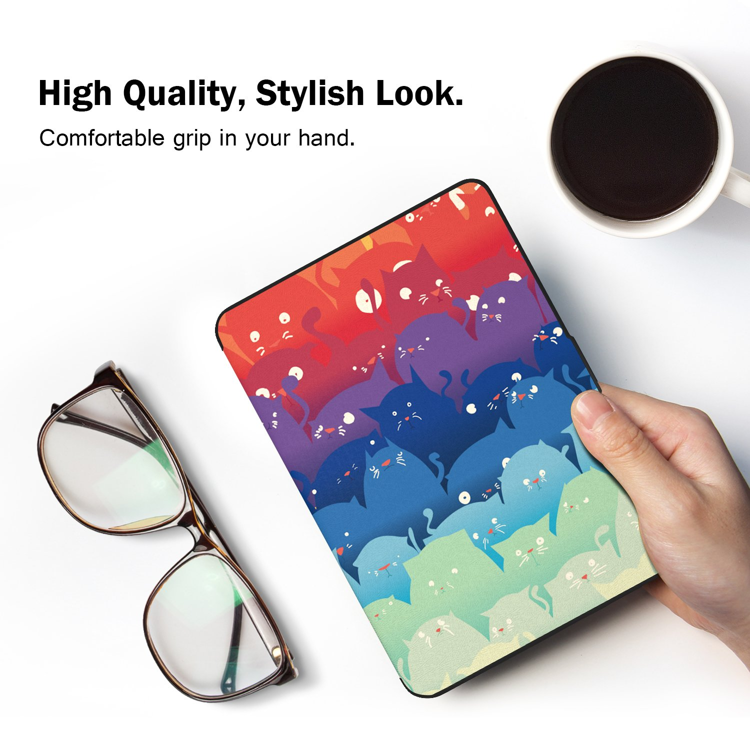 No es compatible para All-new Paperwhite 10th generation 2018 Floral V MoKo Kindle Paperwhite Funda Ambos 2012, 2013, 2015 y 2016 Versi/óns Ultra Slim Ligera Smart Shell Case Cover con Auto Estela // Sue/ño para  All-New Kindle Paperwhite