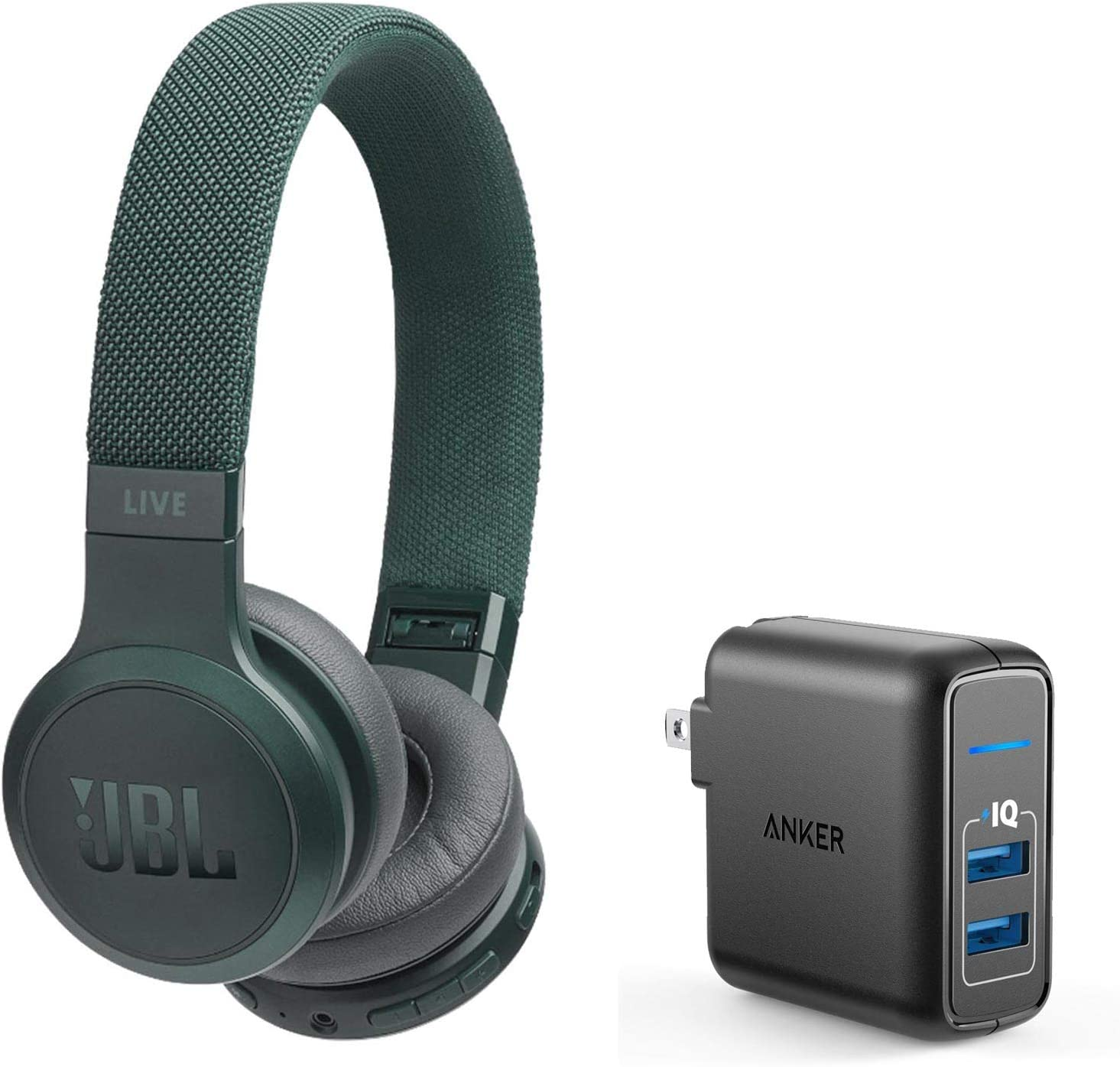 JBL Live 400BT On-Ear Wireless Bluetooth Headphones Bundle with Anker PowerPort Elite 2 Port USB Wall Charger - Green