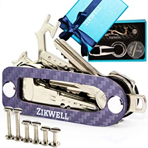 Carbon Fiber Compact Key Holder Keychain, Key Organizer Keychain, Compact Keychain with Stainless Steel Posts, B0NUS Multi-Use Tool, Smart Key Chain for Men or Women for Belt or Pocket (Up to 16 Keys)