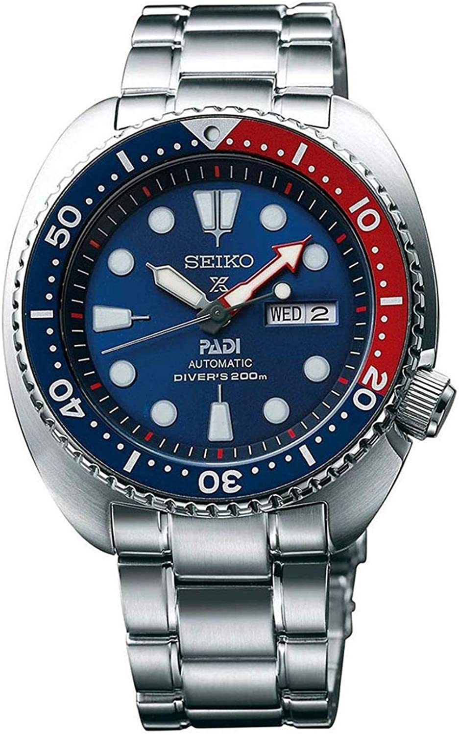 Seiko Hombre Prospex automática Diver Silvertone Reloj con Bisel Azul