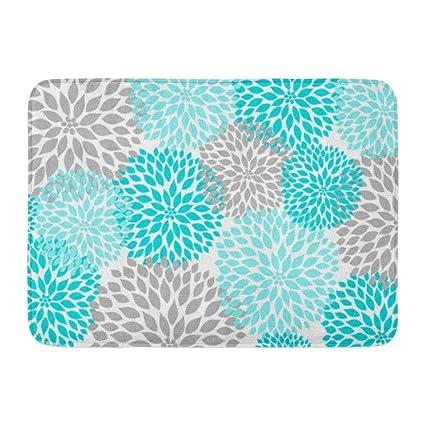 Amazoncom Coolest Secret Bath Mat Floral Turquoise Teal Gray