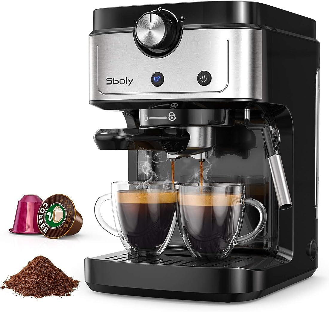 Macchina per caffè espresso a 19 bar con serbatoio dell`acqua rimovibile compatibile nespresso e macinato SYCM-265EA