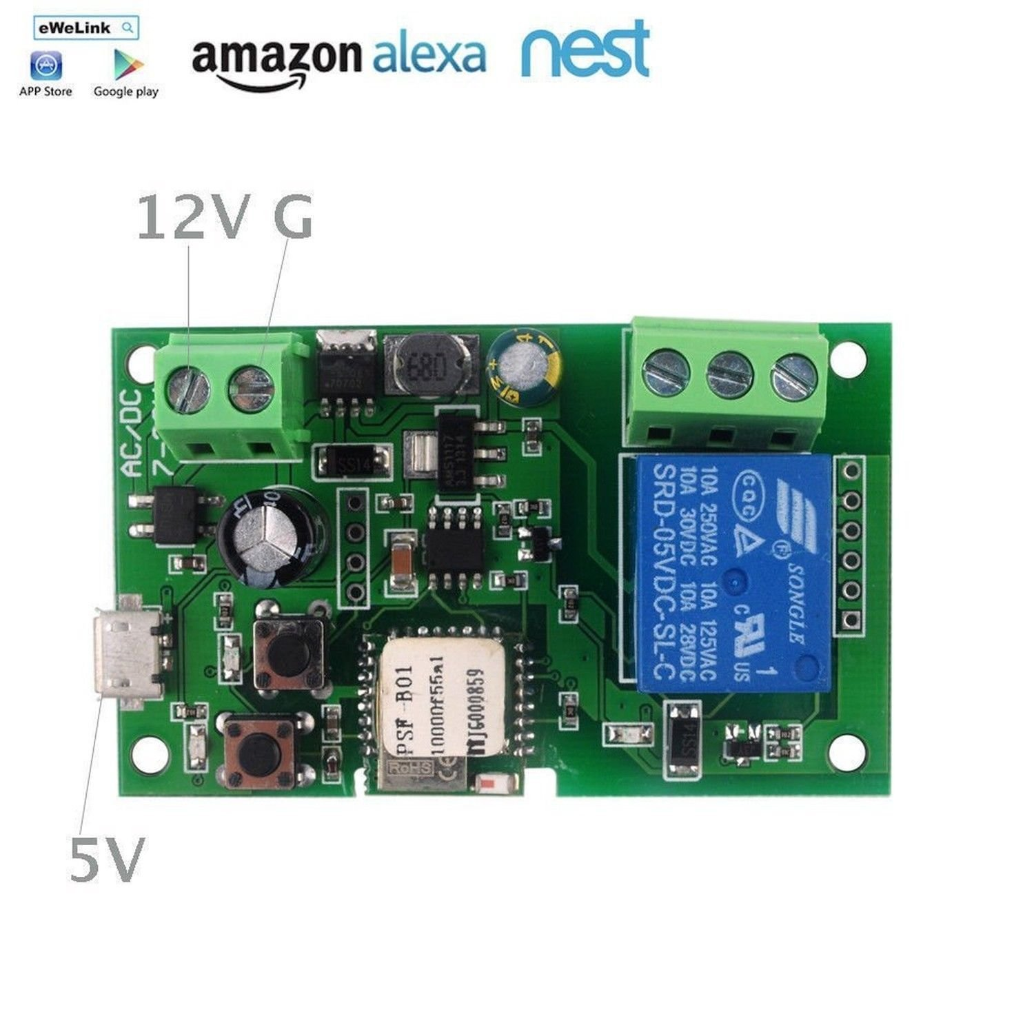 Diy 5v 12v Inching Self Locking Wifi Switch Module 12 Simple Rf Remote Control Circuit Without Microcontroller Homemade Home Improvement
