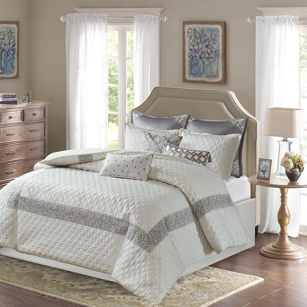 piece dp comforter set queen home kitchen decor amazon lush com stella ivory