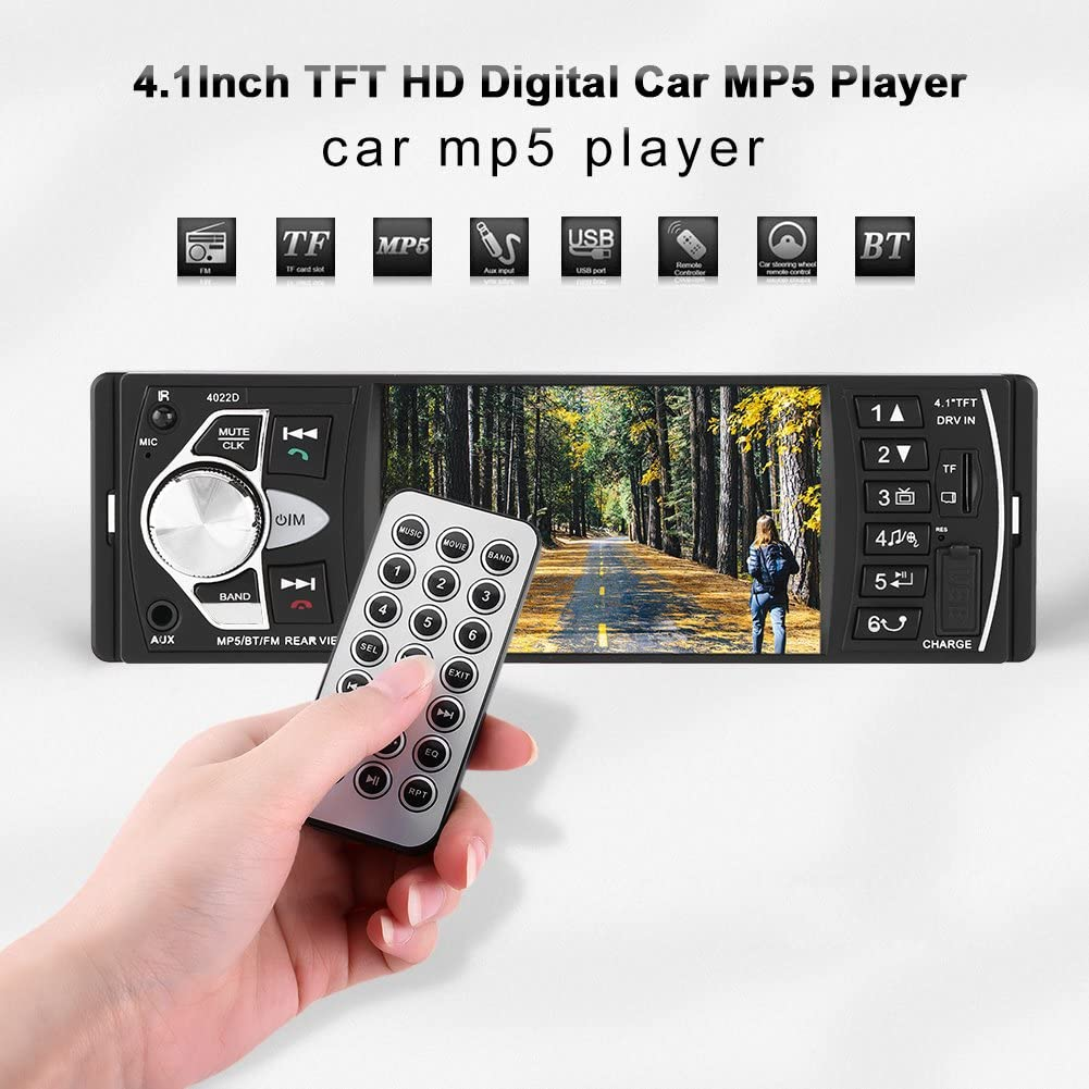 With Camera Cuque 4.1 Inch HD Bluetooth Handsfree Car Stereo MP5 Player Tuning Tools Remote Control Support FM TF AUX 3.5MM Input MP3 MP5 MP3 MP5 Cellphone Audio Steering Wheel Remote Control