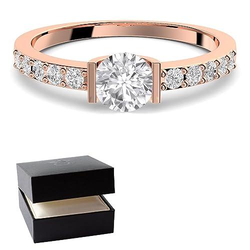 Oro rosa anillo compromiso anillos Rose oro piedra zirconia + estuche! Oro rosa anillo circonios