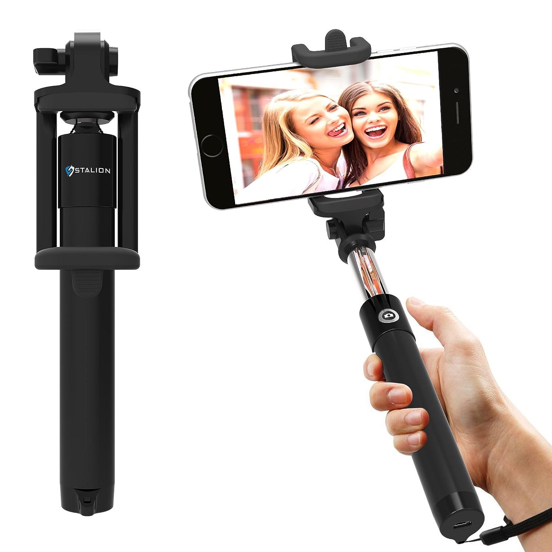 Amazon com stalion pocket size bluetooth selfie stick for smartphones jet black cell phones accessories