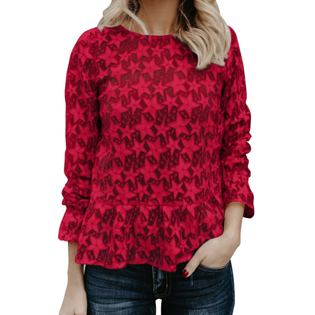 Spbamboo Womens Sexy Star Lace Hollow Tops Long Sleeve T Shirt Tee Blouse Tunic