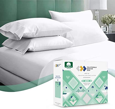 Amazon Com 600 Thread Count 100 Cotton Sheets Pure White King Size 4 Piece Extra Long Staple Combed Cotton Best Bedding Sheet Set For Bed Breathable Soft Silky Sateen Weave Fits Mattress 16 Deep Pocket Kitchen