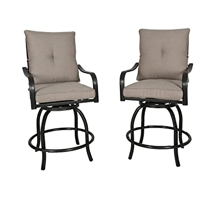info for 3c252 da769 Ulax furniture Outdoor 2-Piece Counter Height Swivel Bar Stools High Patio  Dining Chair Set