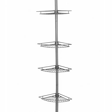 ZPC Zenith Products Corporation Zenna Home 2114NN, Tension Corner Pole Caddy, Satin Nickel
