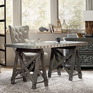 Hooker Furniture Vintage West Sawhorse Writing Desk in Dark Charcoal