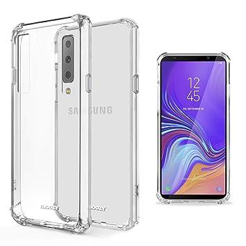 Moozy Funda Silicona Antigolpes para Samsung A7 2018 - Transparente Crystal Clear TPU Case Cover Flexible