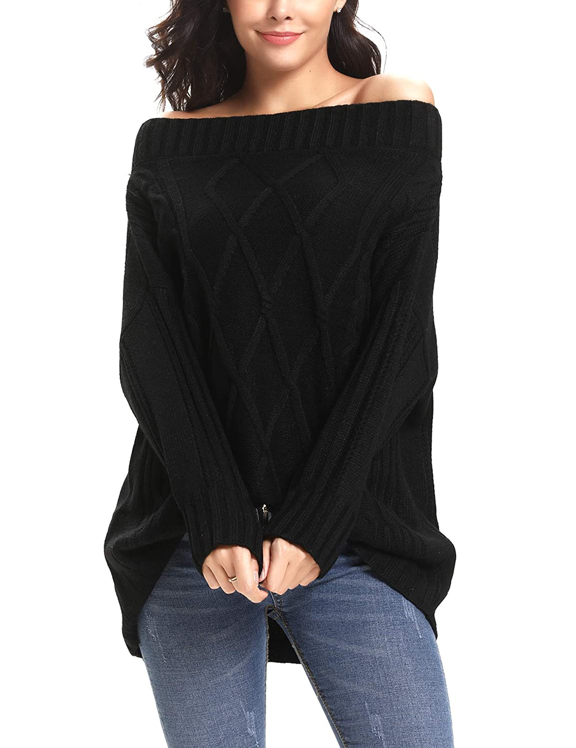 da0db429a747 iClosam Womens Sexy Off Shoulder Cable Knitted Loose Pullover Sweater Jumper  Top at Amazon Women s Clothing store
