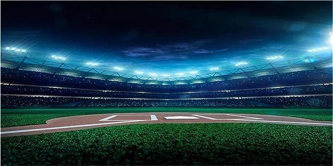 Baseball Theme Art Backdrop City Big Empty Grass Clay Baseball Stadium 10x6.5ft Background Baseball Field Realism Sport Photo Studio Props