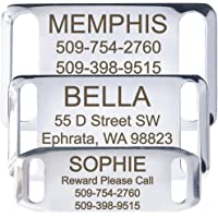 Slide-On Pet ID Tags - Strong And Durable Stainless Steel, Includes up to 4 Lines of Customized Text.