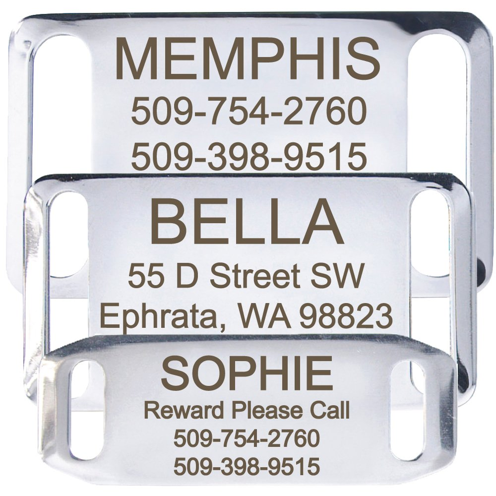 GoTags Pet ID Slide-On Personalized Dog & Cat Tags. Silent, No Noise Collar Tags made of Stainless Steel. Custom Engraved. Includes up to 4 Lines of Personalized Text.
