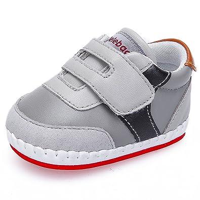 869af9efbc27b DELEBAO Chaussure Bébé Garçon Chaussons Cuir Enfant Chaussures Premiers Pas  pour Bébé Garcon (Gris