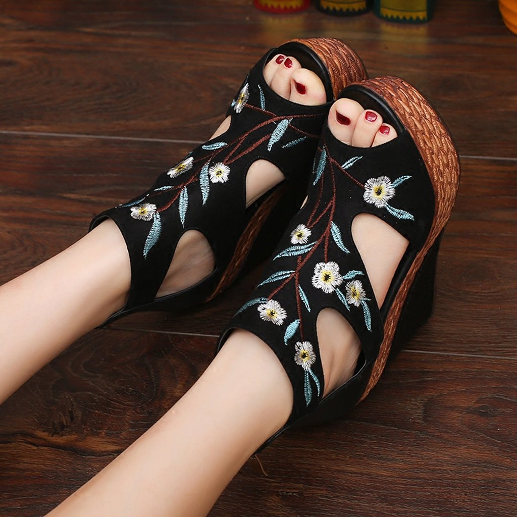 SANDALEN Sexy schwarz Peep Toe Plattform High Schwarz, Heels Wedges Retro Bestickte Damenschuhe (Farbe : Schwarz, High größe : 38) Schwarz 03ddb2