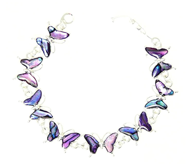 Beau Violet Abalone Paua Bracelet Papillon Couleur Argent En Coffret Cadeau - D