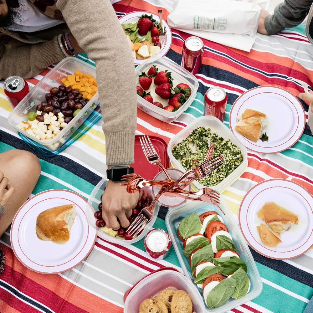 dune banni/ère et dun Chemin de Table. 19 Assiettes en Plastique Assortiment dassiettes Alpacasso 192 Assiettes en Plastique Or Rose de Couverts de pailles de Tasses de Serviettes de Table