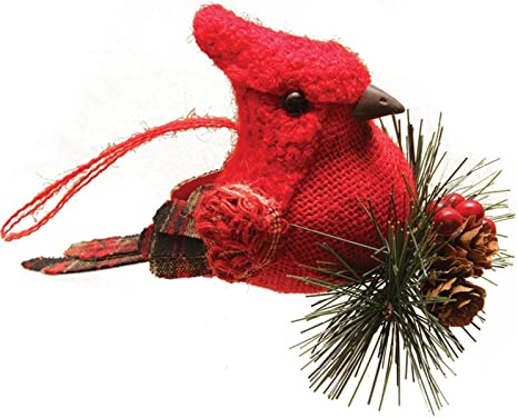 Northlight 6 25 Red Burlap And Plaid Cardinal On Pine Sprig Christmas Ornament Home Kitchen