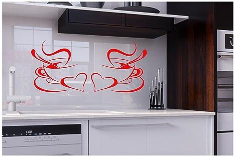 Red tazze da caffè con motivo a cuori piastrelle da cucina