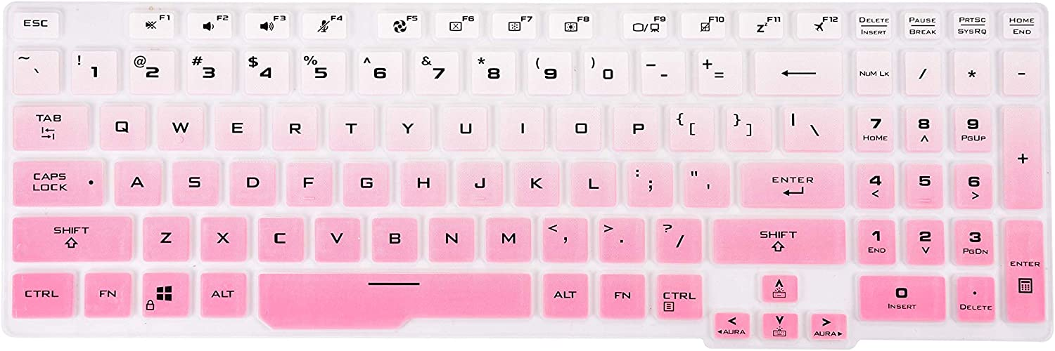 KeyCover - Ultra Thin Keyboard Cover Compatible with Asus TUF506 TUF706 Gaming Laptop - Gradual Pink