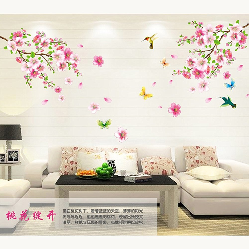 amaonm pink cherry blossom tree flowers birds and butterfly wall amaonm pink cherry blossom tree flowers birds and butterfly wall decal home decals for living room tv background bedroom nursery flower wall stickers