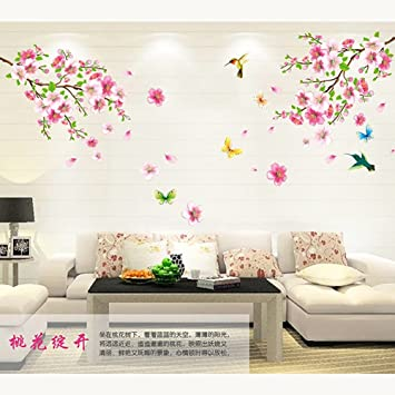 Amaonm® Pink Cherry Blossom Tree Flowers Birds and Butterfly Wall ...
