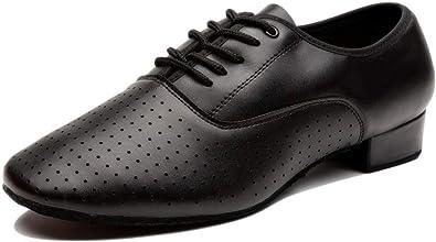 DKZSYIM Mens Leather Professional Latin Dance Shoes Ballroom Jazz Tango Waltz Performance Shoes