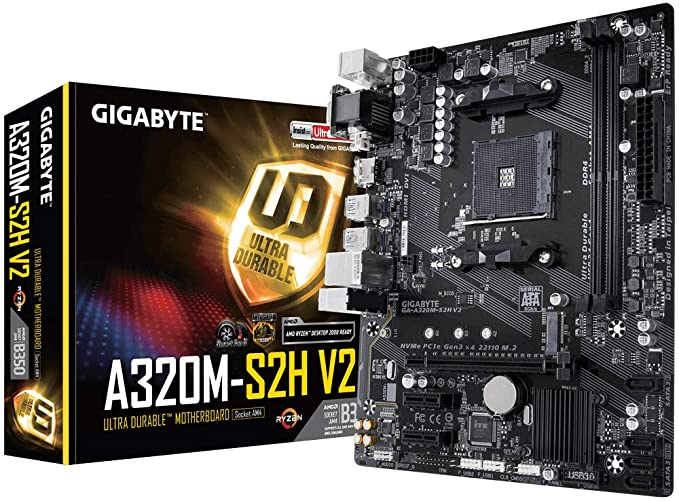 Gigabyte GA-A320M-S2H AMD A320 Socket AM4 microATX - Placa base (DDR4-SDRAM, DIMM, 2133,2400,2667,2933,3200 MHz, Dual, 32 GB, AMD)