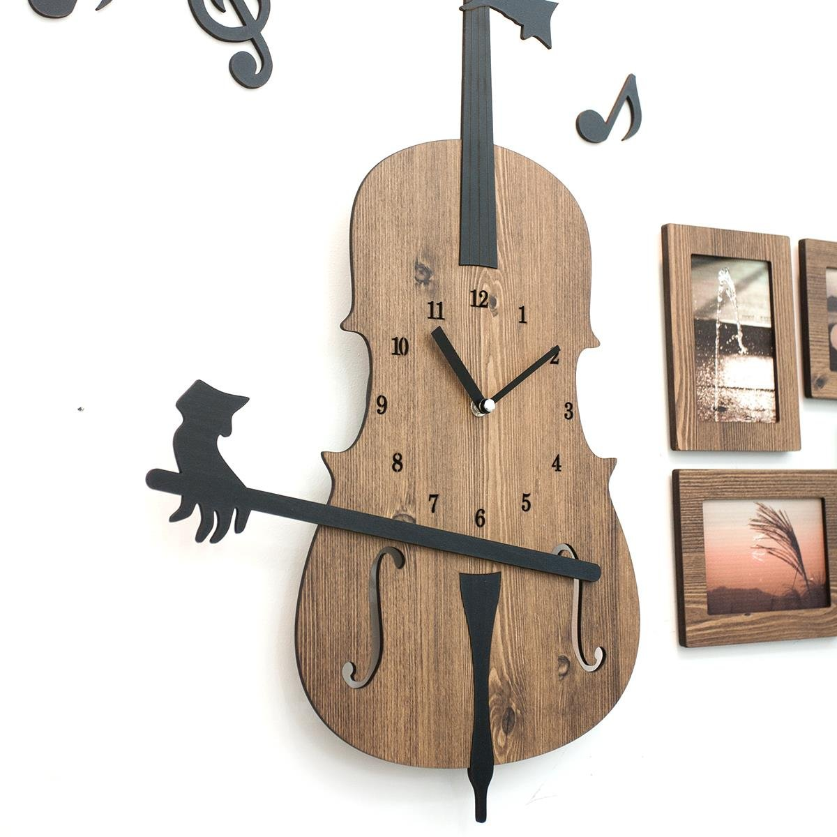 Moromall Invisible Cellist Playing The Cello Handcrafted Non Ticking Silent Wall Clock Music Decor