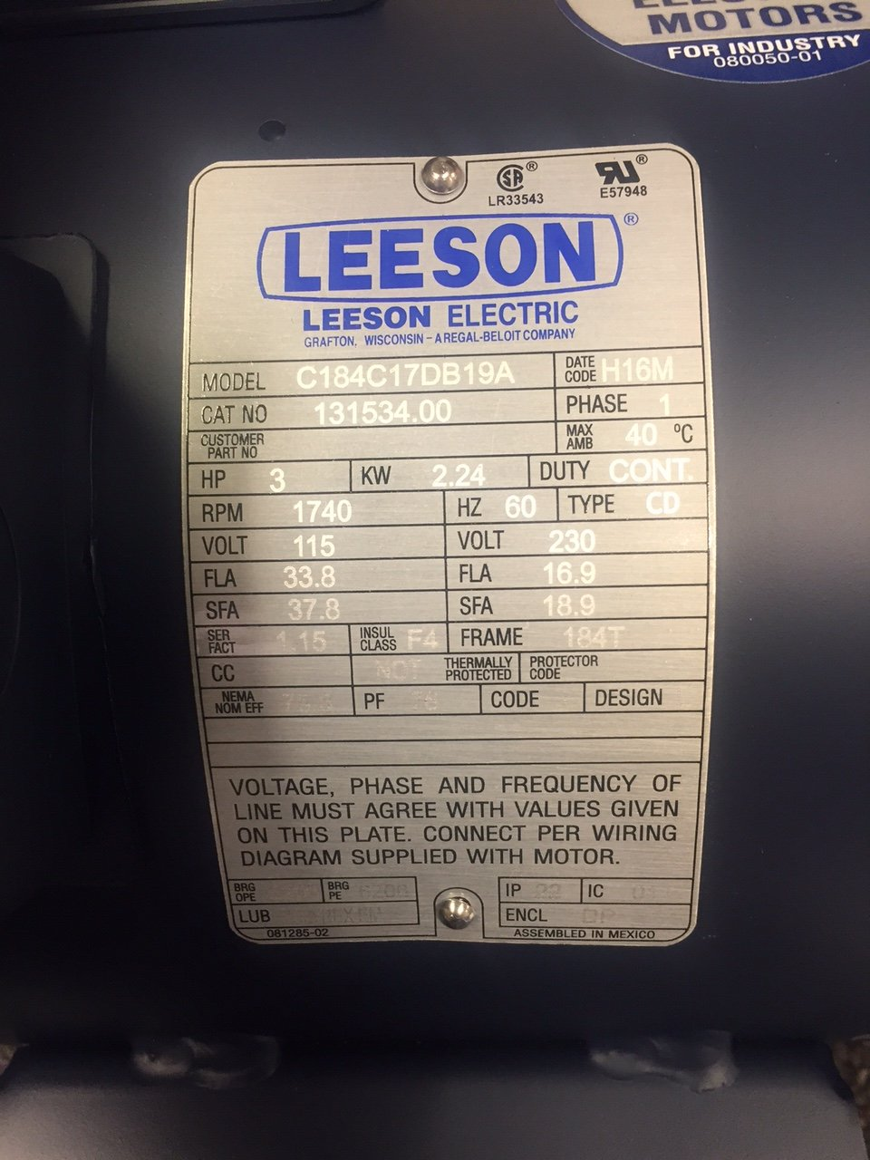 3hp 1725rpm 184t Frame 115208230 Volts Open Drip Leeson Electric. 3hp 1725rpm 184t Frame 115208230 Volts Open Drip Leeson Electric Motor 131534 Amazon Industrial Scientific. Wiring. 37 Hp Wisconsin Wiring Diagrams At Scoala.co