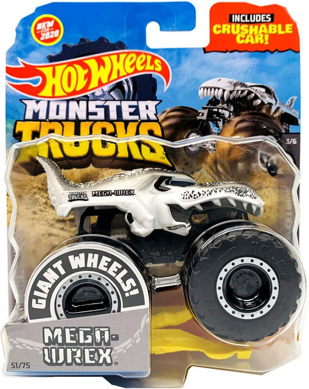 Amazon Com Hot Wheels Monster Trucks 2020 1 64 Scale Diecast Truck With Crushable Car Black And White 3 6 Mega Wrex Toys Games