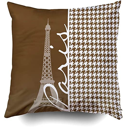 AUUOCC Fundas de Almohada, Paris Chocolate Marrón ...