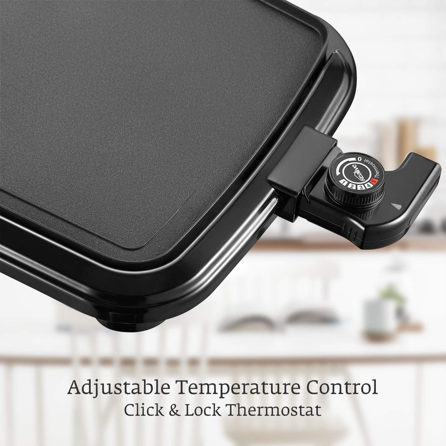 Kealive Griddle, Family-Sized Electric Grill Griddle 1500W with Drip Tray, Non-stick, 10''x20'', Black by Kealive (Image #3)