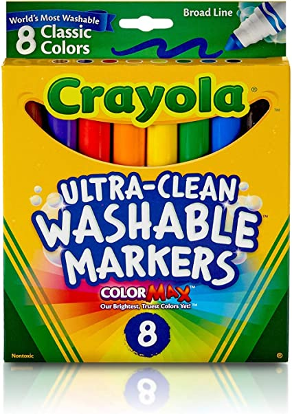 Crayola Ultra-Clean Washable Markers 2 Pack 8 Count Broad Line