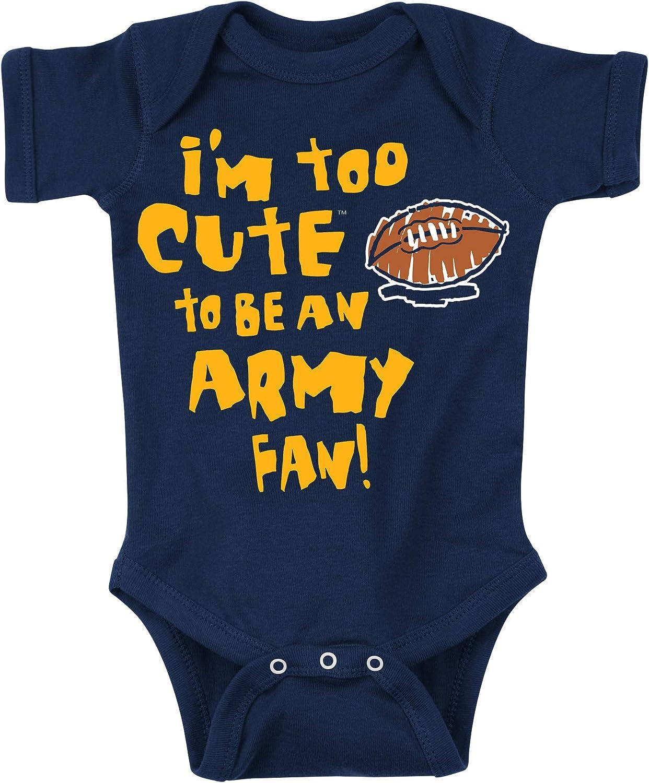 Rookie Wear By Smack Apparel Navy Football Fans. Too Cute to be an Army Fan Onesie (NB-4T)