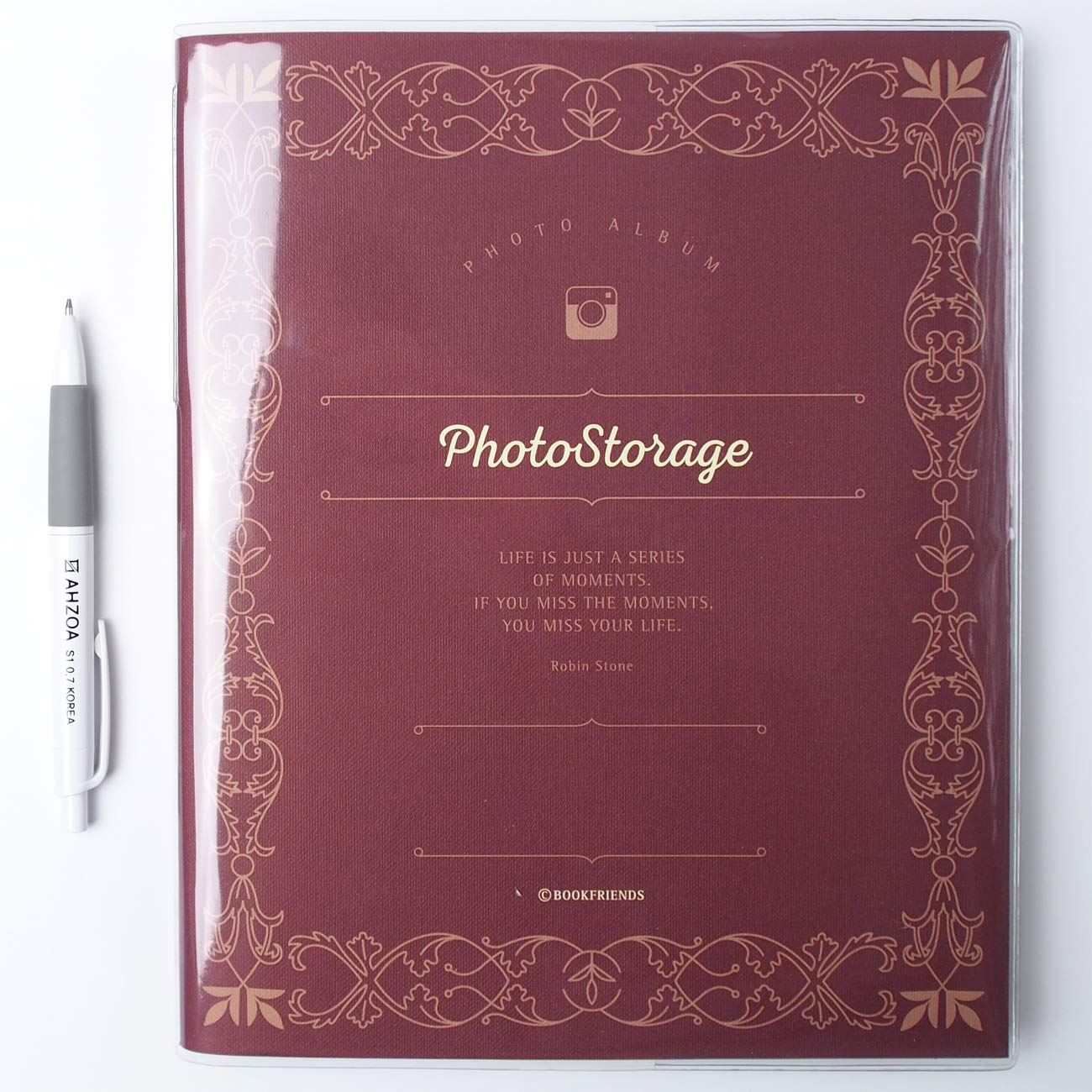 Photo Storage Album with AHZOA Pencil, 30 Pages Black Inner Page Self-Adhesive Type 8.27 x 10.24 Inch (Burgundy)