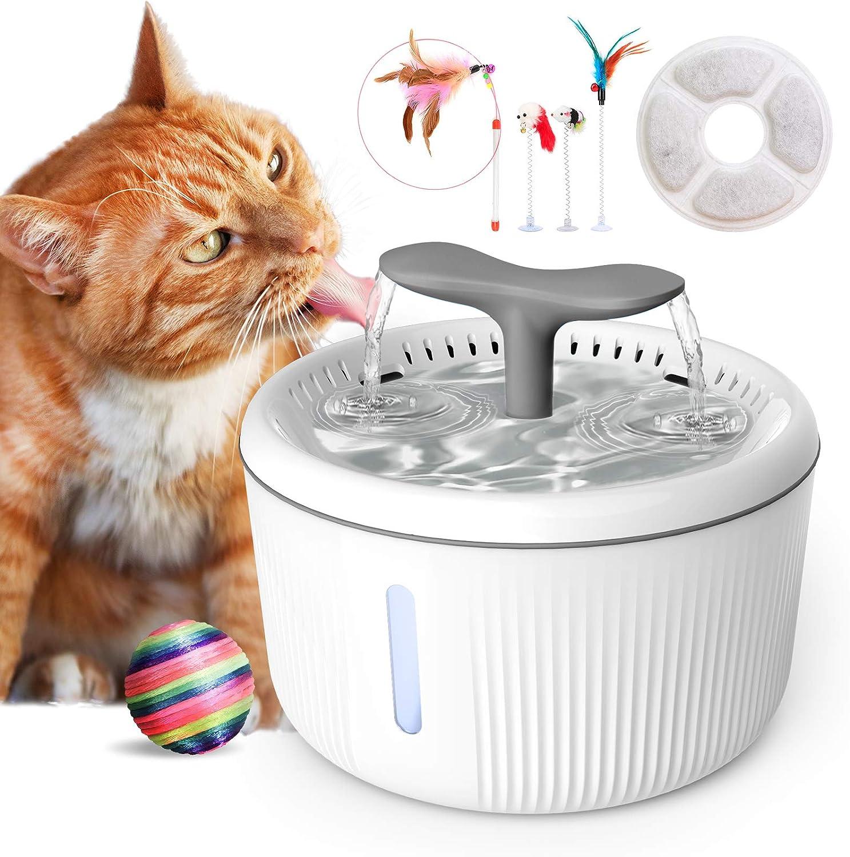 PewinGo Fuente para Perros 2L Silenciosa, Bebedero Gatos Automática con Agua Nivel LED Indicadora, Filtro de Carbón Activadoy 4 Juguetes, Fuente para Gatos para Mascotas Gatos Perros 3 Modos Ajustable