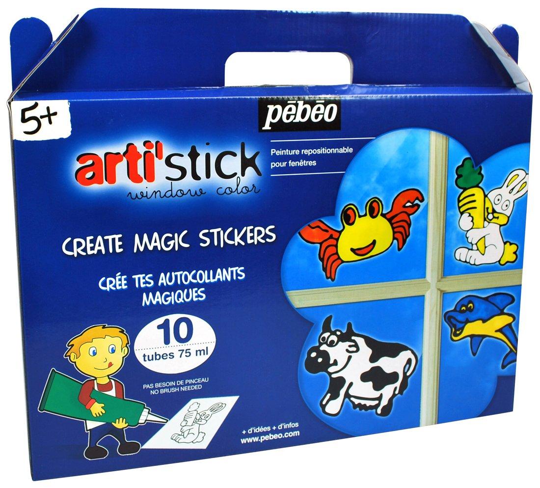Pébéo 008659 Artistick Set de 10 Tubes the Sea and Animals 75 ml arti' stick windowcolor peinture enfant pebeo