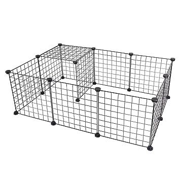 EUGAD DIY Jaula Modular Valla para Animales Pequeños, Parque para Mascotas para Hámsteres Cobayas Conejos Perros Gatos 12 Pieza Plástico/Metal Negro 0002WL: ...