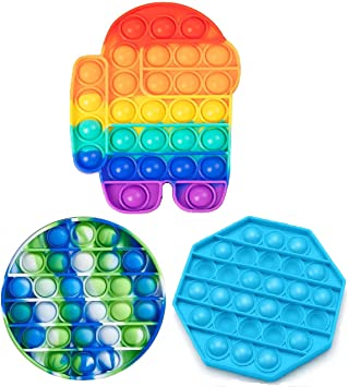 3 PCS Pack Push Pop Bubble Sensory Fidget Toy, Anti-Anxiety Squeeze Tools, Educational STEM Playing Board for Kids Adults  Autism Special Needs Stress Reliever Pop It Toys  Among Us, Round, Octagon.