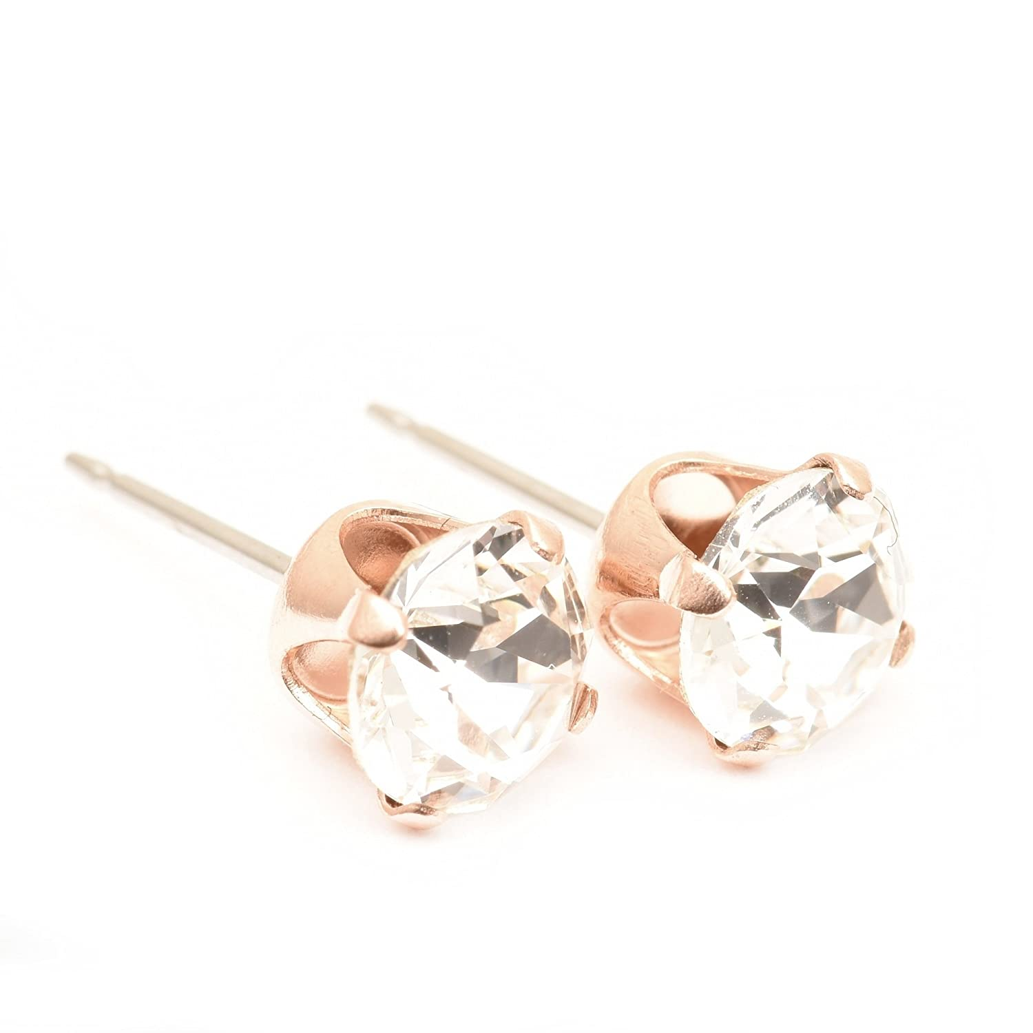 pewterhooter Rose Gold stud earrings expertly made with sparkling Rose Gold crystal from SWAROVSKI®. 5KCmovgjs
