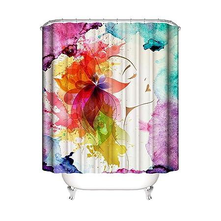 epinki poliéster cortina de ducha multicolor flores niña ...