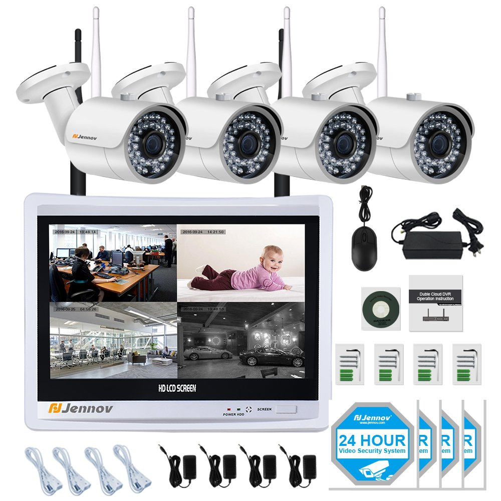 Jennov Wireless Surveillance Security Camera System 4 Channel 1080P Home CCTV Wifi 12 '' LCD Monitor NVR Kit 4PCS HD Motion Detection IR Night Vision IP Cameras(No Hard Drive)
