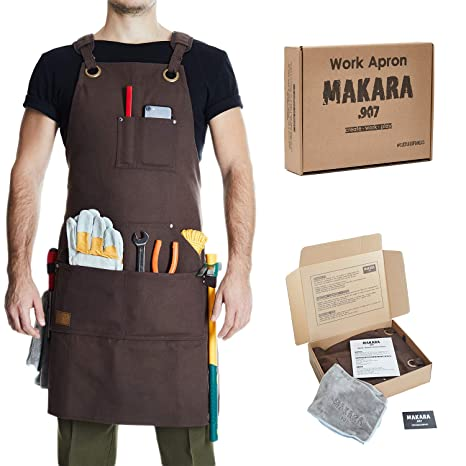 Shop Work Apron Waxed Canvas Woodworking Apron With 6 Spacious